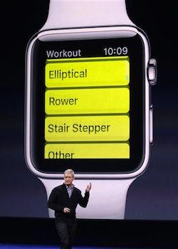 Apple CEO Tim Cook explains the Workout app on the new Apple Watch during an Apple event.