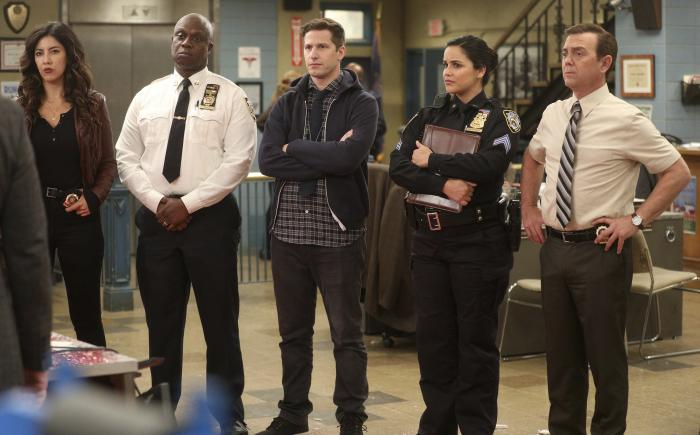 "The cast of the comedy series ""Brooklyn Nine-Nine,"" from left, Stephanie Beatriz, Andre Braugher, Andy Samberg, Melissa Fumero and Joe Lo Truglio."