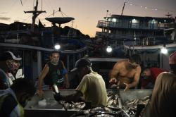 Men gather at a fish market in Manaus, Brazil, May 22, 2020.