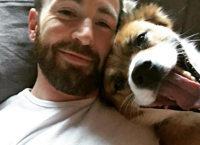 Chris Evans with his dog Dodger.