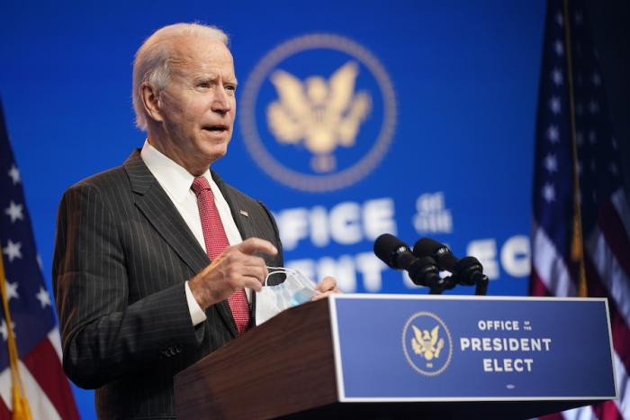 President-elect Joe Biden speaks at The Queen theater in Wilmington, Del.