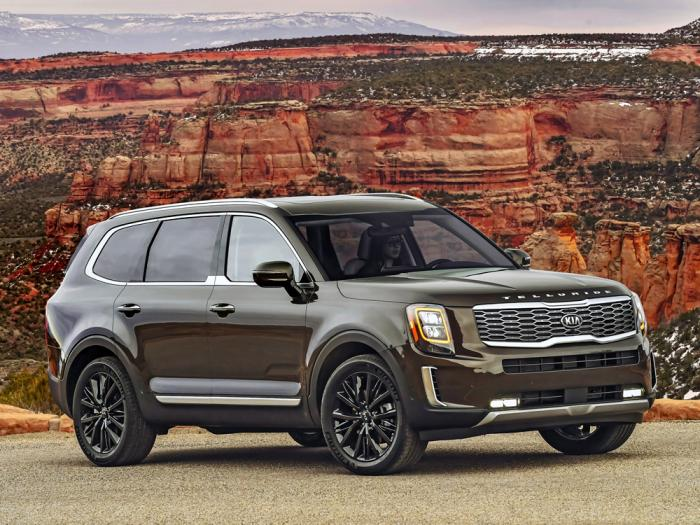 This undated photo provided by Kia shows the 2021 Kia Telluride, which retains its crown as the Edmunds Top Rated SUV for 2021. It stands out from the competition with its more premium look and feel.