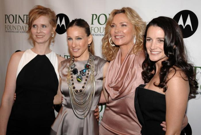 From left to right: Cynthia Nixon, Sarah Jessica Parker, Kim Cattrall and Kristin Davis arrive at the 2008 Point Foundation Benefit in New York.
