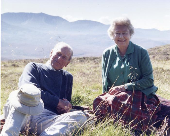 A personal photograph of Queen Elizabeth II and Prince Philip Duke of Edinburgh at the top of the Coyles of Muick, Scotland, in this photo taken by Sophie The Countess of Wessex in 2003.